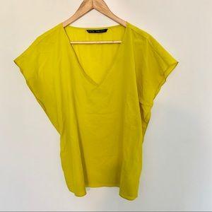 Zara lime colored v-neck short sleeve shirt